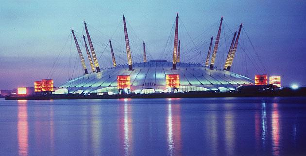 Millennium Dome, London, 2000.Designed by the Richard Rogers Partnership and engineers Buro Happold, this was a £45m politically-driven folly. Often compared to a giant jellyfish washed up on the Greenwich peninsula, today this huge tent has been reborn as the successful O2. With a diameter of 365m and topping 100m, its titanic scale remains impressive.