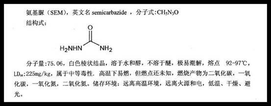 """图为与偶氮甲酰胺密切关联的""""致癌物""""氨基脲的分子结构图。"""