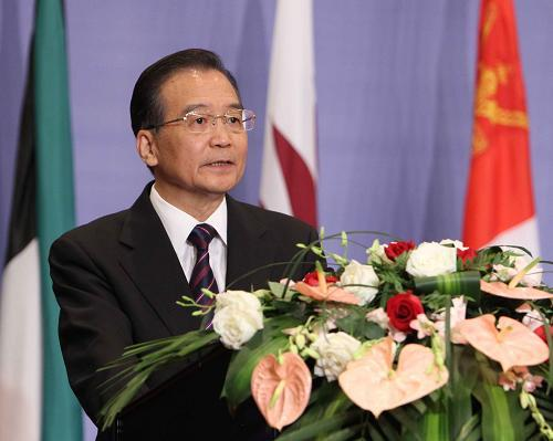 Chinese Premier Wen Jiabao speaks at the opening ceremony of the fourth Ministerial Meeting of the China-Arab Cooperation Forum held in the north Chinese port city of Tianjin,  Thursday, May 13, 2010. (Xinhua/Liu Weibing)