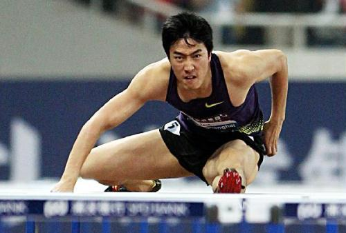 Liu Xiang of China competes during the men's 110m hurdles at the IAAF Diamond League athletic meeting in Shanghai, east China, May 23, 2010. Liu ranked the third with 13.40 seconds. [Photo:Xinhua/Fan Jun]