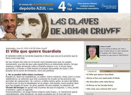 克鲁伊夫 西班牙有冠军相 争冠从胜智利开始