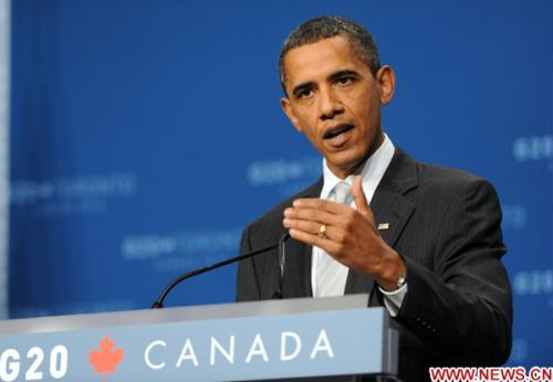 U.S. President Barack Obama speaks during a press conference at the conclusion of the G20 Summit, at the Metro Toronto Convention Center, in Toronto, Canada, June 27, 2010. (Xinhua/Shen Hong)