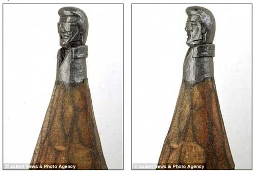 Elvis carved on on lead is just one of hundreds of pencil creations by artist Dalton Ghetti