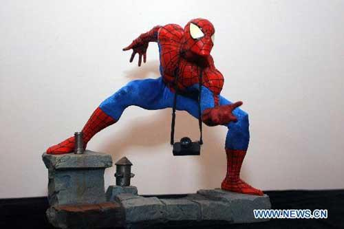 Photo taken on Aug. 8, 2010 shows the prototype of spiderman at the Shanghai International Film Prototype Exhibition (SIFPE) in Shanghai, east China. The SIFPE kicked off in Shanghai on Sunday, in which over 1,000 pieces of film prototype artworks were exhibited. (Xinhua/Zhu Liangcheng)