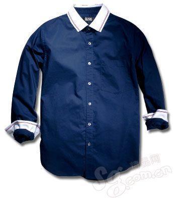 深蓝色拼接白领衬衫 izzue