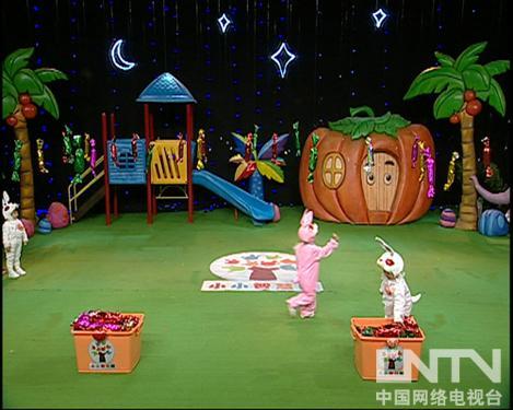 西瓜桔子做游戏 小白兔摘糖果