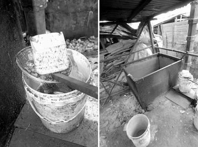"""在海口市某养猪""""专业村""""拍摄的加工泔水的简单工具"""