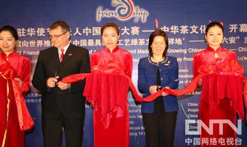 各领导、驻华大使代表上台共同剪彩,开启茶文化体验活动