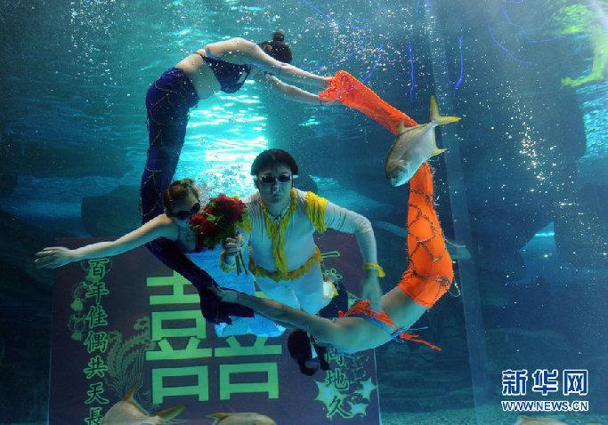 2012年5月19日,济南,美人鱼为新人偏偏起舞,庆祝新婚