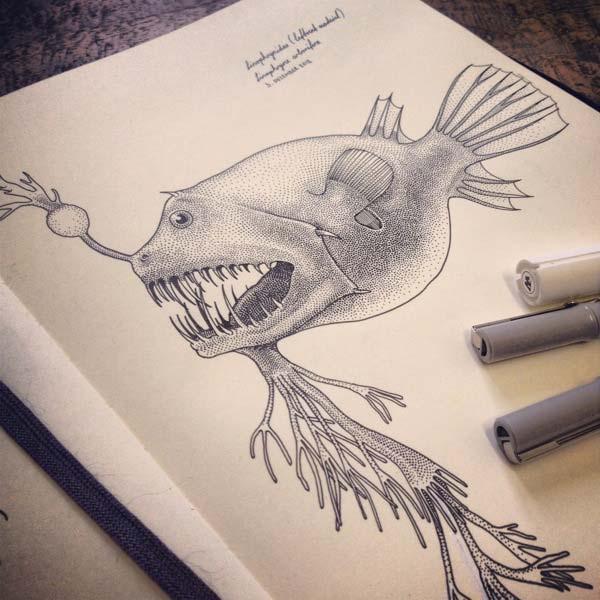 纹身手绘鱼结构