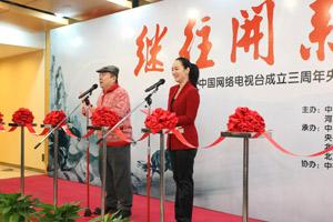 中国网络电视台书画名家和央视主持人作品邀请展在首都体育馆开幕