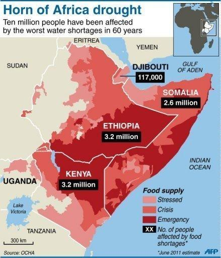 Drought famine hit horn of africa world humanitarian day cntv map shows dought affected areas gumiabroncs Image collections