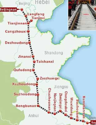 Ligne à grande vitesse Beijing-Shanghai : un gain de temps important