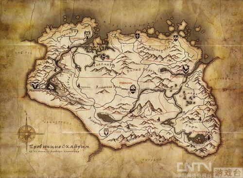 《上古卷轴5》大地图放出 尽显凛冬山地特色_