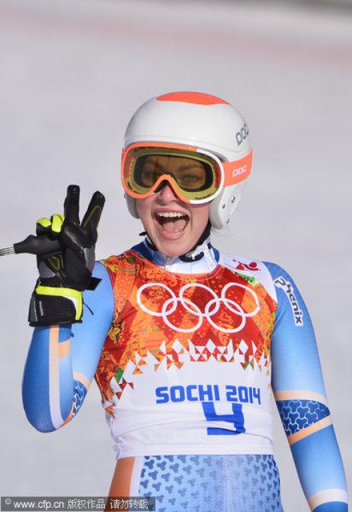 [高清组图]高山滑雪女子超级两项全能 莱希夺冠