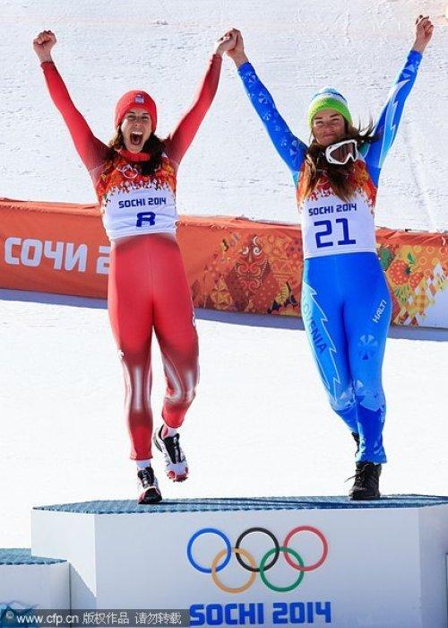 [高清组图]高山滑雪女子速降现冬奥雪上首个并列冠军