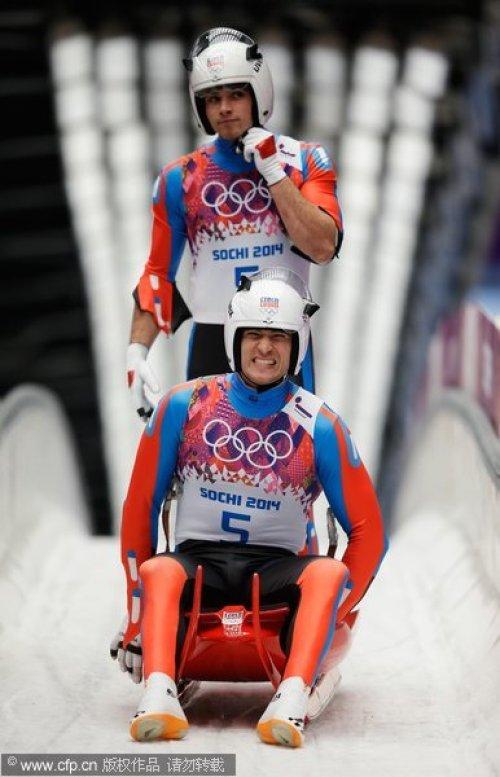 [高清组图]无舵雪橇男子双人决赛 德国夺冠