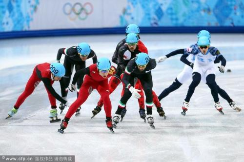 [高清组图]短道速滑男子5000米接力 中国进决赛