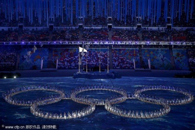 [高清组图]闭幕式精彩纷呈 奥运五环傲然绽放
