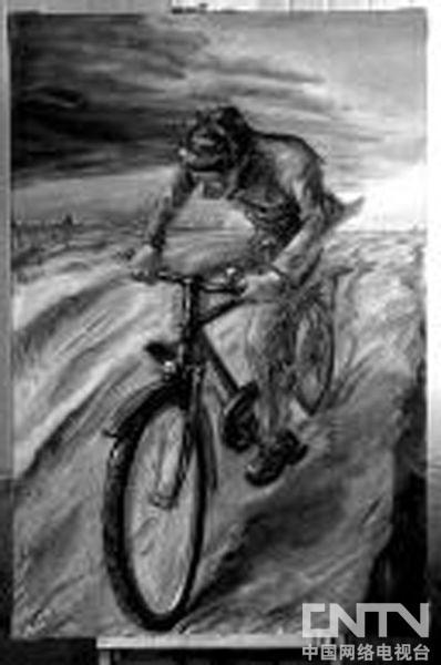动物嚎叫写实素描画