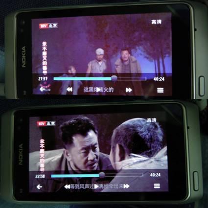 消费者使用诺基亚N8看视频时屏幕呈现的色彩偏紫