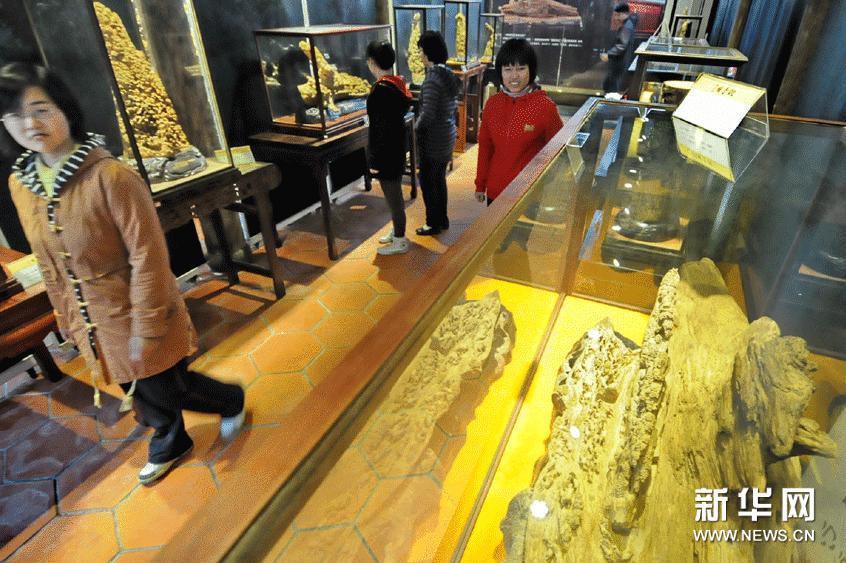 2月5日,市民在沉香木雕预展会上欣赏郑春辉的沉香木雕作品。