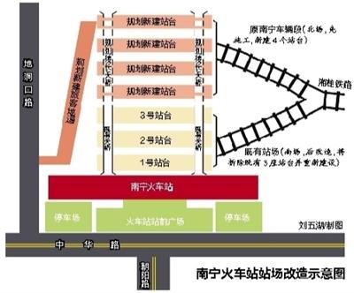 南宁火车站站场实施扩改 改造后将拥有7个站台