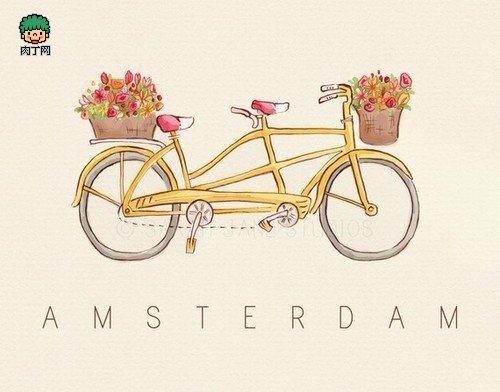 唯美手绘图片 浪漫的自行车插画图集