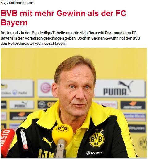 《慕尼黑日报》:多特蒙德上一财年纯利润超拜仁