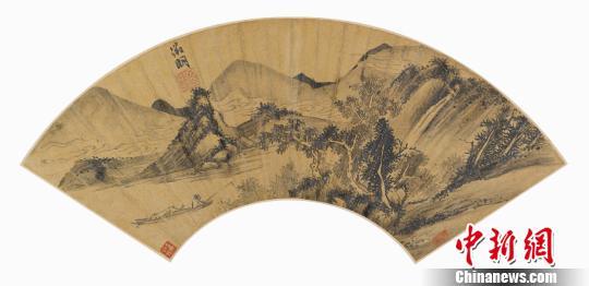 图为明代中期最著名的画家、大书法家文徵明金笺扇面《垂钓图》
