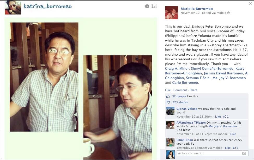 博罗梅奥的孩子在社交网络发布寻父信息。