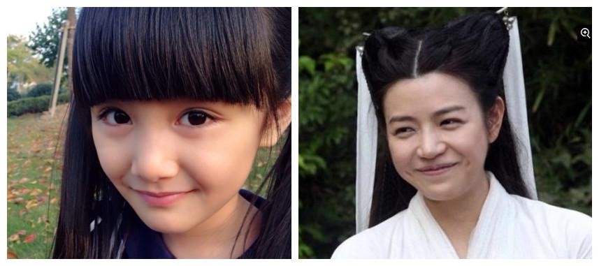 童年小龙女和陈妍希对比图(台媒图)