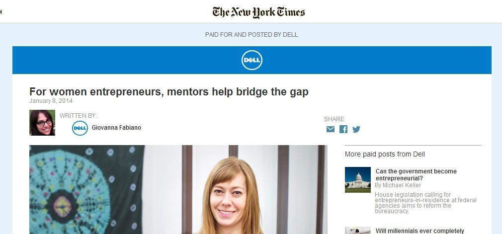 (新版《纽约时报》网站上,原生广告会被标注成蓝色,并且文字注明。)