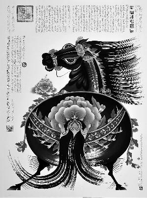 央美教授吕胜中去年为马年创作的数码微喷版画《五花马》。