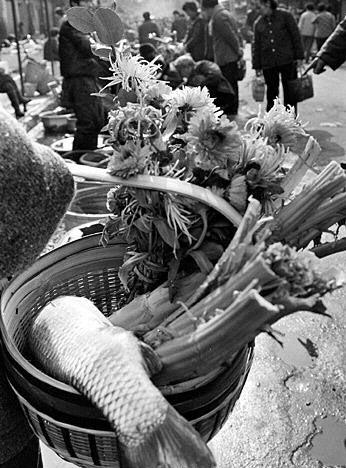 这是1988年拍摄的成都居民喜购年货迎新春的菜篮子,里面不仅盛有鲜鱼、鲜菜,还增加了一束美丽的鲜花。