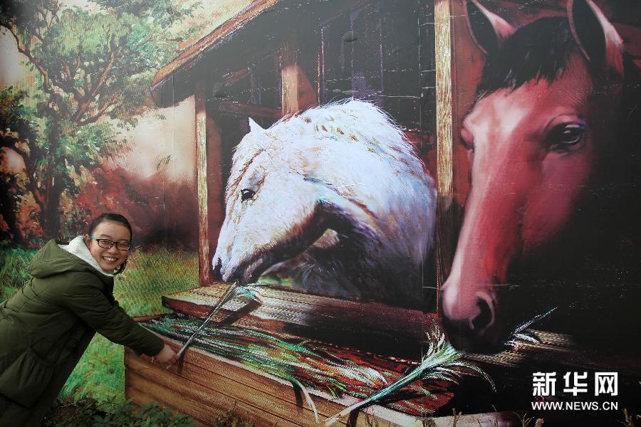 (3)1月28日,参观者在南通·1895文化创意产业园与骏马主题的3D画合影。