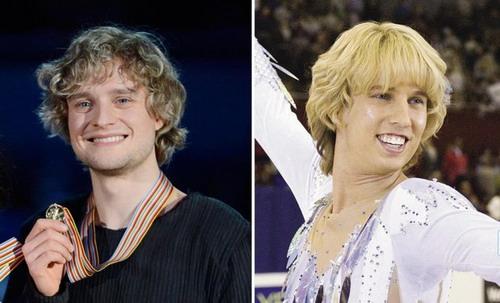 美国冰舞选手查理-怀特(左)和喜剧电影《荣誉之刃》中的男主演琼-海德(右)