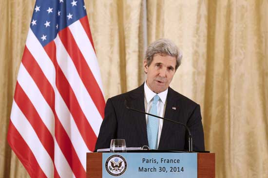 US Secretary of State John Kerry speaks during a press conference at the US embassador residence, in Paris, France, 30 March 2014, after his meeting with Russian Foreign Minister Sergei Lavrov, earlier this evening at the Russian embassador