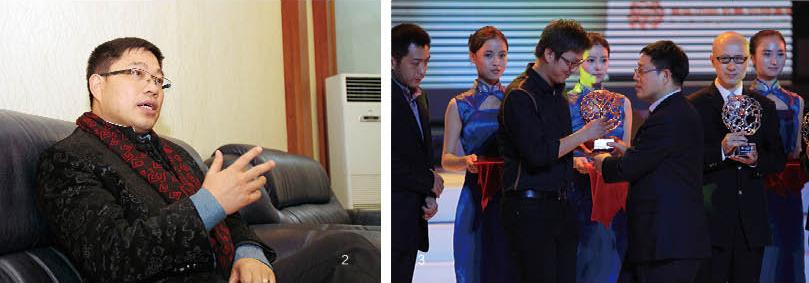 左:杨才旺接受《当代中国》画册记者采访;右:杨才旺为获奖者颁奖