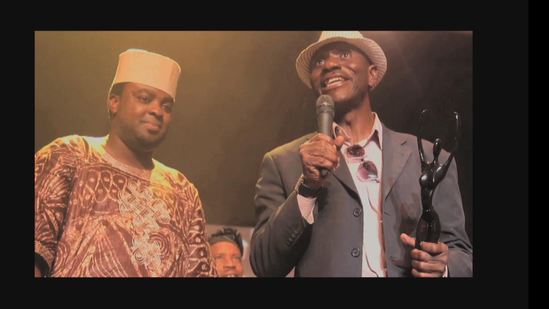 Pat expressing gratitude after he was awarded AMAA (African Movie Academy Awards) award for