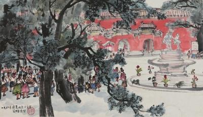 北京少年宫(国画) 23.5×40.5厘米  1956年