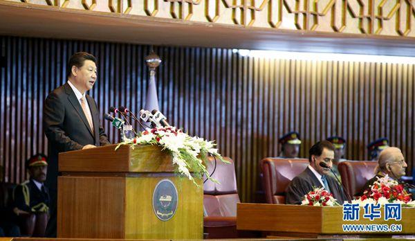 4月21日,国家主席习近平在巴基斯坦议会发表题为《构建中巴命运共同体 开辟合作共赢新征程》的重要演讲。 新华社记者 姚大伟 摄