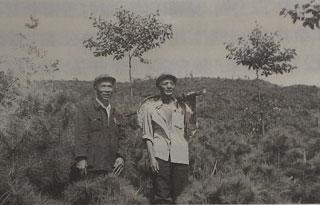 杨善洲(左)在大亮山植树间隙。