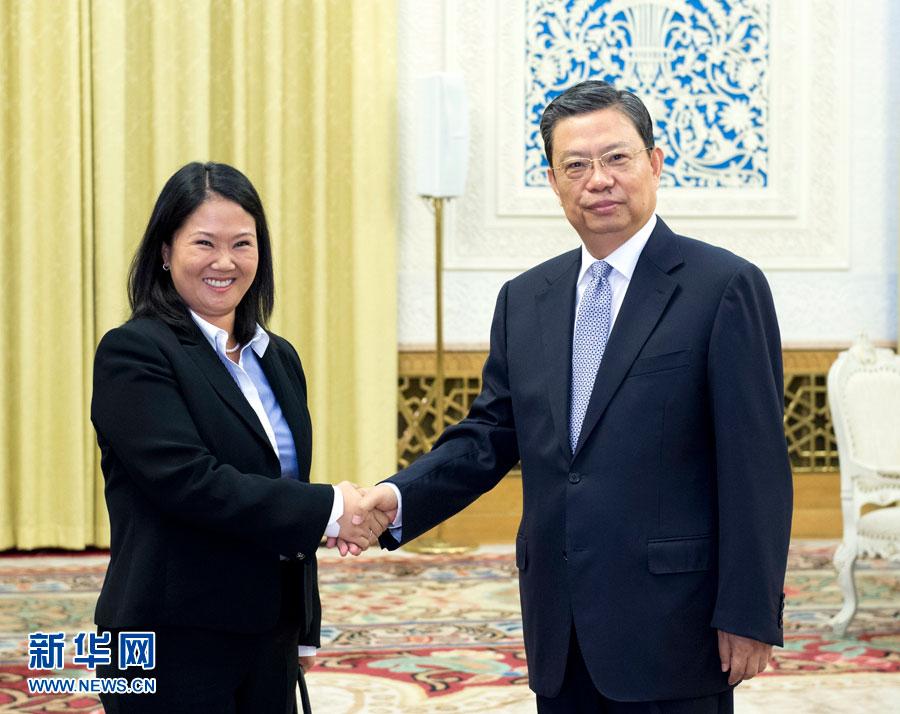 7月2日,中共中央政治局委员、中组部部长赵乐际在北京会见由主席藤森庆子率领的秘鲁人民力量党代表团。新华社记者 王晔 摄