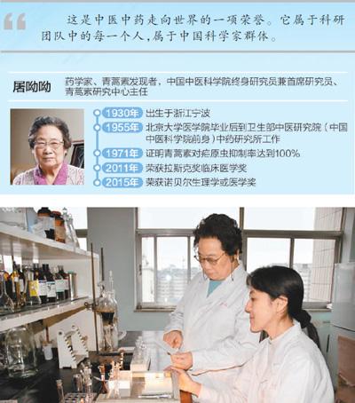 屠呦呦(左)在实验室和同事一起做实验。