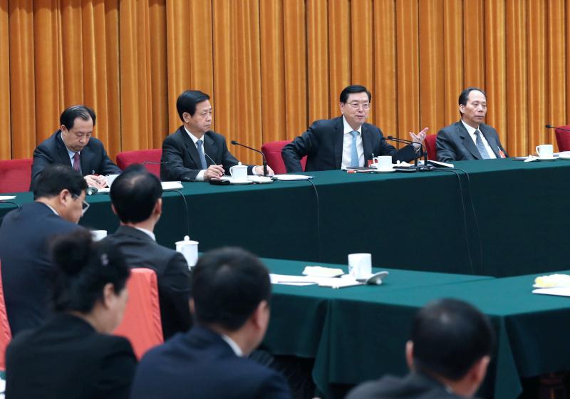 3月8日,中共中央政治局常委、全国人大常委会委员长张德江参加十二届全国人大五次会议黑龙江代表团的审议。