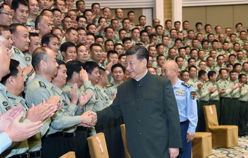 6月22日,正在山西省考察工作的中共中央总书记、国家主席、中央军委主席习近平在太原接见驻晋部队师以上领导干部和建制团单位主官。