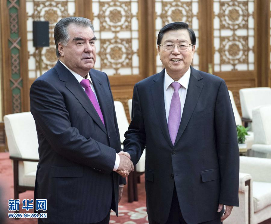 8月31日,全国人大常委会委员长张德江在北京人民大会堂会见塔吉克斯坦总统拉赫蒙。