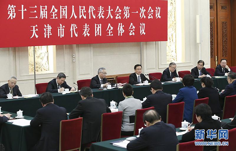 3月7日,中共中央政治局常委韩正参加十三届全国人大一次会议天津代表团的审议。
