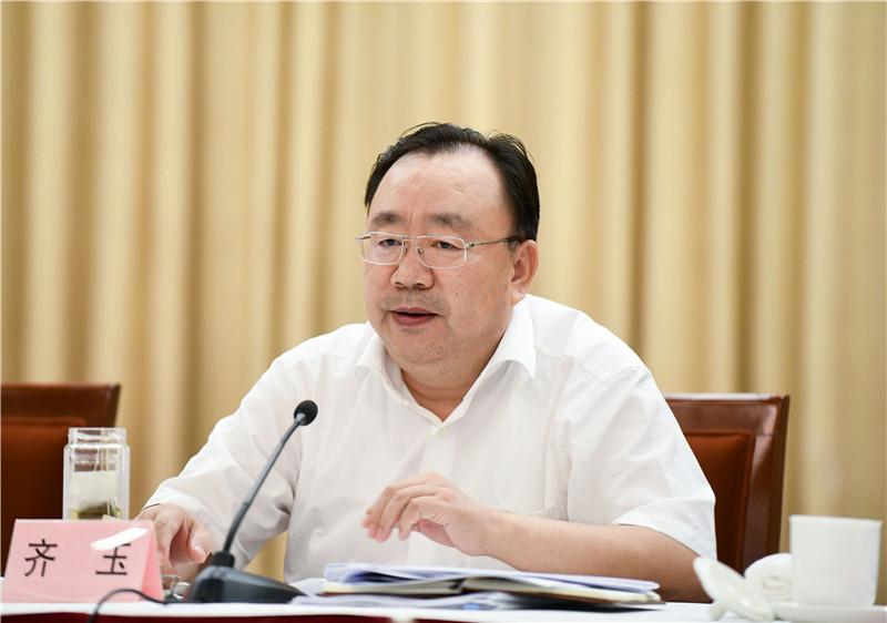 图为中央组织部副部长齐玉出席会议并讲话。